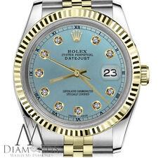 Shiny Blue Ladies Rolex 31mm Datejust 2 Tone Diamond Numbers RT Fluted Bezel 18K