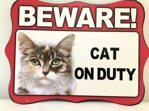 CAT NO4 ~ BEWARE~ HANGING METAL CAT SIGN ~ NEW