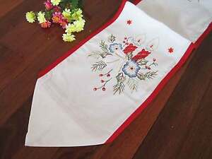 Pretty X'mas Flower Candle Star Embroidery Red Border Table Runner L