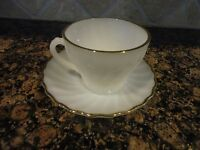 VINTAGE ANCHOR HOCKING FIRE KING WHITE MILK GLASS TEA CUP AND SAUCER