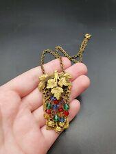 Grapes Gold Tone Necklace Vintage Antique Edwardian Czech Beaded