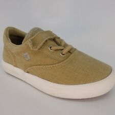 SPERRY Top-Sider SP Wahoo Jr. Khaki Canvas Boys Shoes Size 8 M EU 24 AL5963