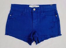 NWT Abercrombie Womens High Waisted Shorts Size 0 Royal Blue Destroyed Holes