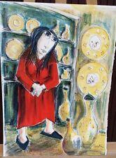 """Elie PESATORI Litho originale """"La Dame en Rouge"""" Signée - Numérotée  Comme neuve"""