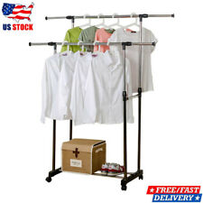 Double Garment Rack Shelf Adjustable Scalable Rolling Clothes Hanger Stand Rail