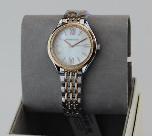 NEW AUTHENTIC MICHAEL KORS MINDY SILVER ROSE GOLD CRYSTALS WOMEN'S MK7077 WATCH