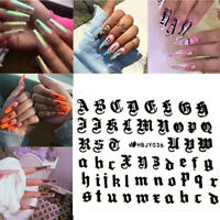 English Letter Nail Art Sticker 3D Transfer Decal Manicure Decors Adhesive Tips