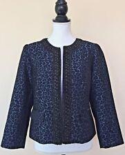 Chico's Blue Leopard Print Open Front Black Sparkle Trim Long Sleeve Blazer 0