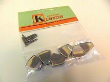 SET OF 6 KLUSON REVOLUTION KRTMB04C KEYSTONE BUTTONS CHROME w /MOUNTING SCREWS