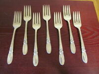 Oneida WHITE ORCHID Set of 7 Salad Forks Community Silverplate Flatware Lot C