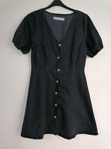 NEW Asos Tall Button Down Washed Black Soft Denim Dress UK14