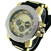 Mens Hip Hop Silver Gold Ice Nation Watch With Silicone Bullet Band