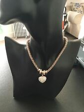 New Rose Gold Plated Necklace With Diamanté Heart By Equilibrium