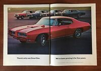 NICE Vintage 1968 Original Print 2-Page Ad Red GM Pontiac GTO ~There's Only One~