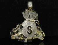 1.50Ct Round Cut Diamond Money Bag and Bundles Pendant 14K Yellow Gold Over