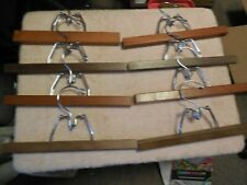 8 Vintage Wooden Pants Hangers Clamp Style Solid Wood