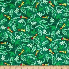 Fabric Birds Tropical Toucan in Forest Green Leaves on Cotton 1 Yard
