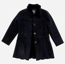 KC Collections Girls Faux Suede Fur Lining Black Warm Coat Size Small