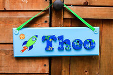 Childrens rocket door sign / name plaque: space nursery theme