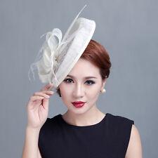 Fascinator Mesh Flower Large Hat Women Pearl Wedding Hairband Church Derby Race
