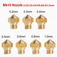 10X Mk10 Extruder Nozzle For 3D Printer M7 0.2/0.3/0.4/0.6/0.8mm 1.75mm Filament
