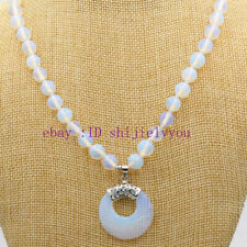 Opal Round BeadsGemsPendant Necklace18'' Numismatics 8Mm Beautiful Natural White