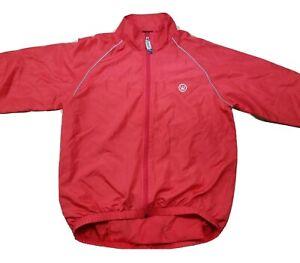 CANARI Men's Red Full Zip Cycling Windbreaker Jacket Size Small Reflective Trim