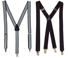 mens suspenders 2 pairs 1 inch wide CTM black & white stripes AINOW solid black