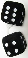 "AUTOMOBILE - CAR FUZZY DICE PAIR WITH STRING 2.5"" CUBES BLACK"