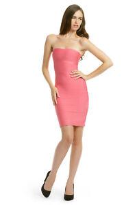 Celebrity Style Salmon Pink Strapless Boob Tube Bodycon Bandage Mini Dress