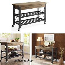 Industrial Kitchen Cart Island Bar Sofa Table Drawers 2 Shelf Wood Metal Brown
