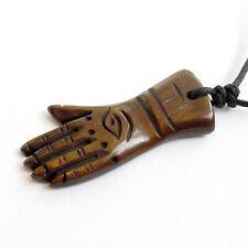 Tibet Bone Buddhist Buddha Hand Amulet Pendant Talisman--35mm*16mm