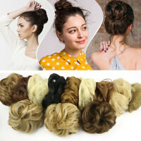 Natural Color Curly Messy Bun Hair Piece Scrunchie Fake Hair Extensions US Stock