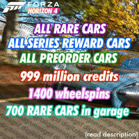 Forza Horizon 4 ALL CARS, 999Million CR, 700 RARE CARS!(read Desc!)XBOX, PC