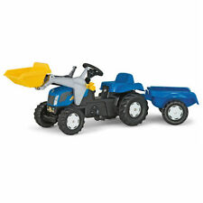ROLLY TOYS RIDE ON NEW HOLLAND PEDAL TRACTOR WITH LOADER AND TRAILER 2Yrs+