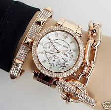 Michael Kors Uhr Damenuhr MK5491 Parker Farbe:Rose Gold Strass NEU