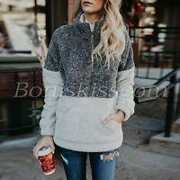 Women's Long Sleeves 1/4 Zipper Sweatshirt Jacket Fleece Outwear Winter Fur Coat