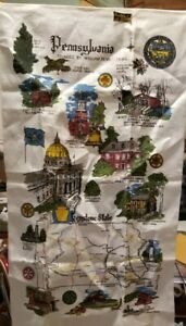 Vintage Kay Dee PENNSYLVANIA Linen Kitchen Towel EXCELLENT UNUSED GREAT GRAPHICS