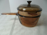 Vision Corning Pyrex Double Boiler 1.5L with Lid Amber Made in France