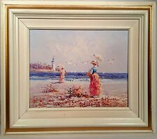 J Miller Oil on Canvas Painting Women on Beach Signed