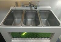 Portable Sink Concession Sink 3 Compartment Sink, Table Top