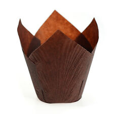 Tulip Pattern Large Muffin Paper Cupcake Cake Cases Wraps Chocolate Brown HY