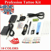 Complete Tattoo Kit Machine Gun Power Supply 10 Color Ink Set Needles uc