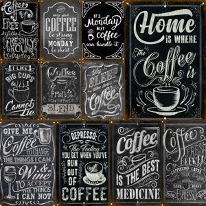 Coffee Tin Sign Vintage Poster Retro Plaque Home Bar Pub Club Wall Decor Tavern