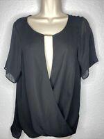Michael Kors Black Drape Neckline Wrap Short Sleeve Top Blouse NEW NWT Sz M $120