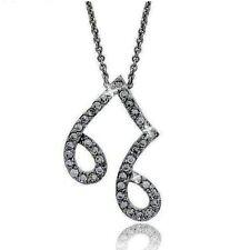 Diamond Alternatives Music Note Pendant Necklace 14k White Gold over 925 SS