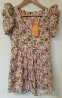 Jolie Moi Floral 80s Style Puff Sleeve Shorts Playsuit Size S 8 10