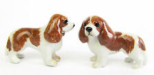 Cavalier King Charles Spaniel Set/2 Blenheim Miniature Porcelain Dog figurine