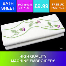 New White Scottish Gift Thistle Embroidered Cotton Bath Sheet Towel C440
