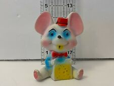 """New listing Vintage Rubber Mouse Squeaky Toy Made In Taiwan Pink Blue Red Hat Cheese 4.5"""""""